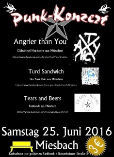 Angrier Than You + Turd Sandwich + Tears and Beers @ Kulturhaus zur goldenen Parkbank